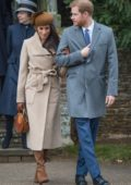 Meghan Markle at the Royal Family's Christmas Day service on the Sandringham estate in eastern England, UK