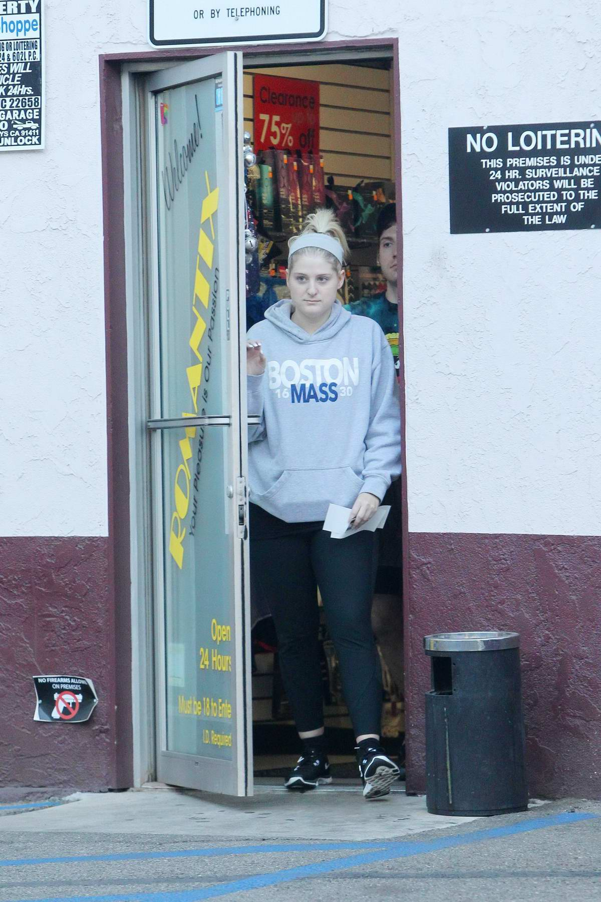 Meghan Trainor and new fiance Daryl Sabara dress down as they go shopping at Romantix Adult Store in Los Angeles