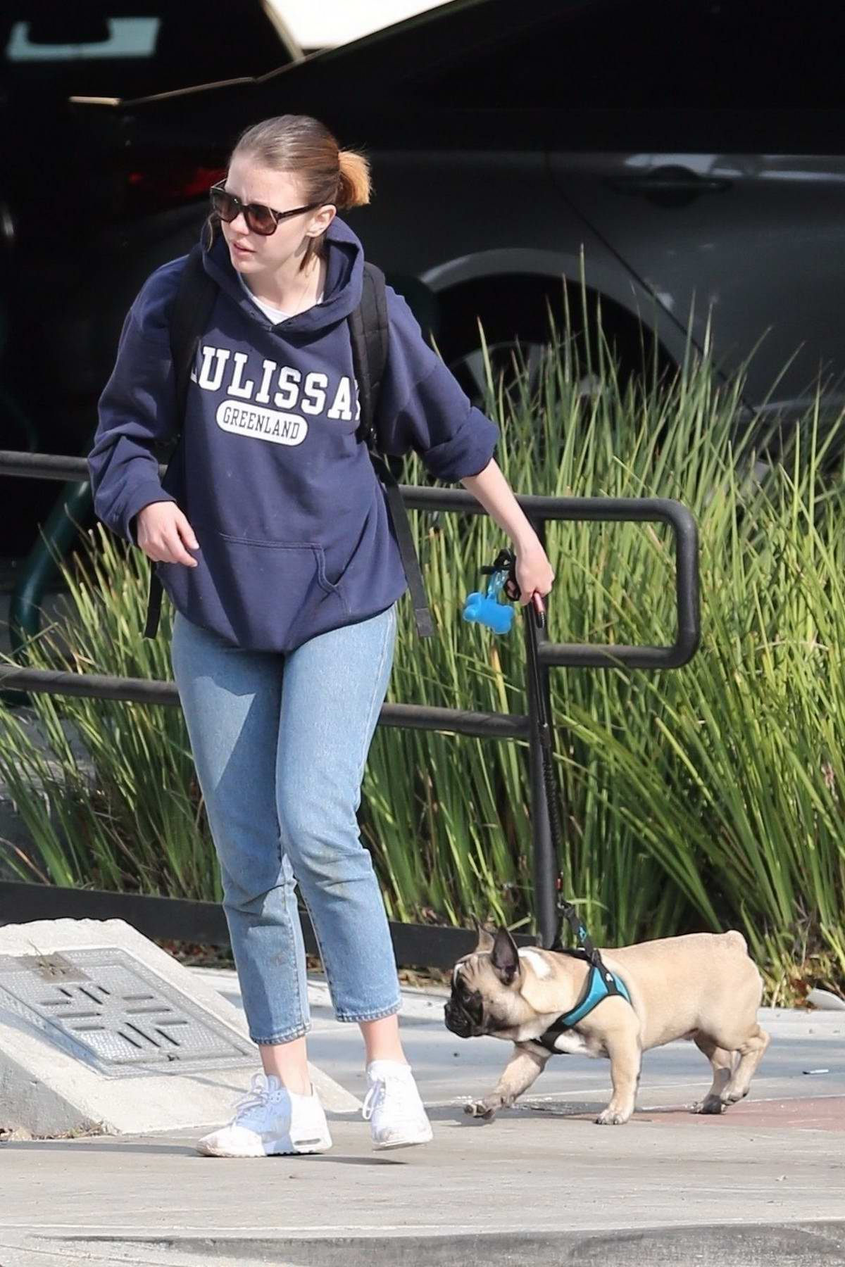Mia Goth spotted out with her french bulldog in Sherman Oaks, Los Angeles