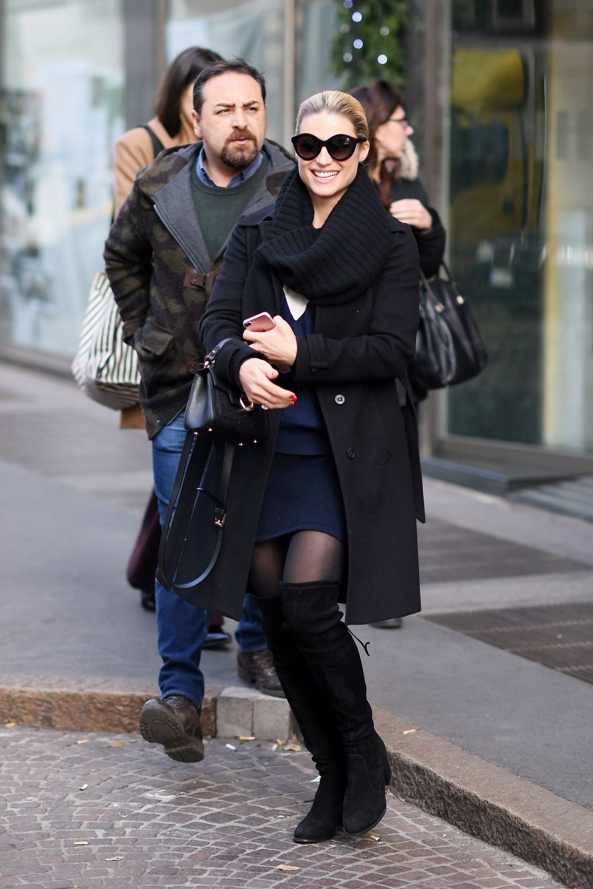 Michelle Hunziker spotted leaving her home in Milan, Italy