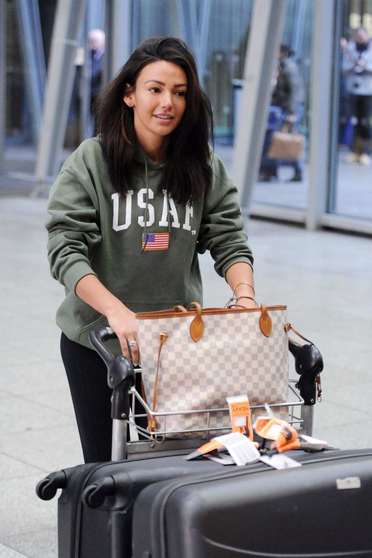 Michelle Keegan arrives in London after 8 months of filming Our Girl