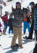 Nina Dobrev enjoys some snowboarding as she hits the slopes of Aspen, Colorado