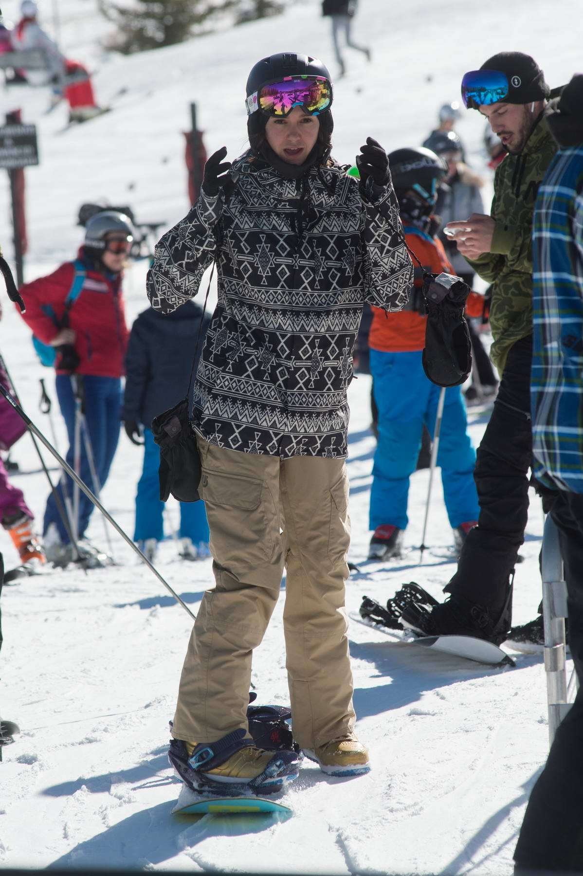 Nina Dobrev enjoys some snowboarding as she hits the slopes of Aspen, Colorado
