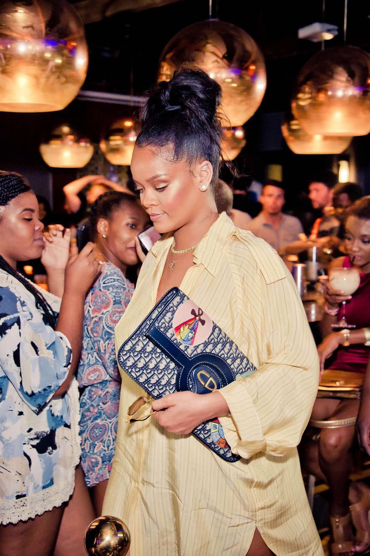 Rihanna at a party for brother Rorrey Fenty's clothing and lifestyle brand in Barbados
