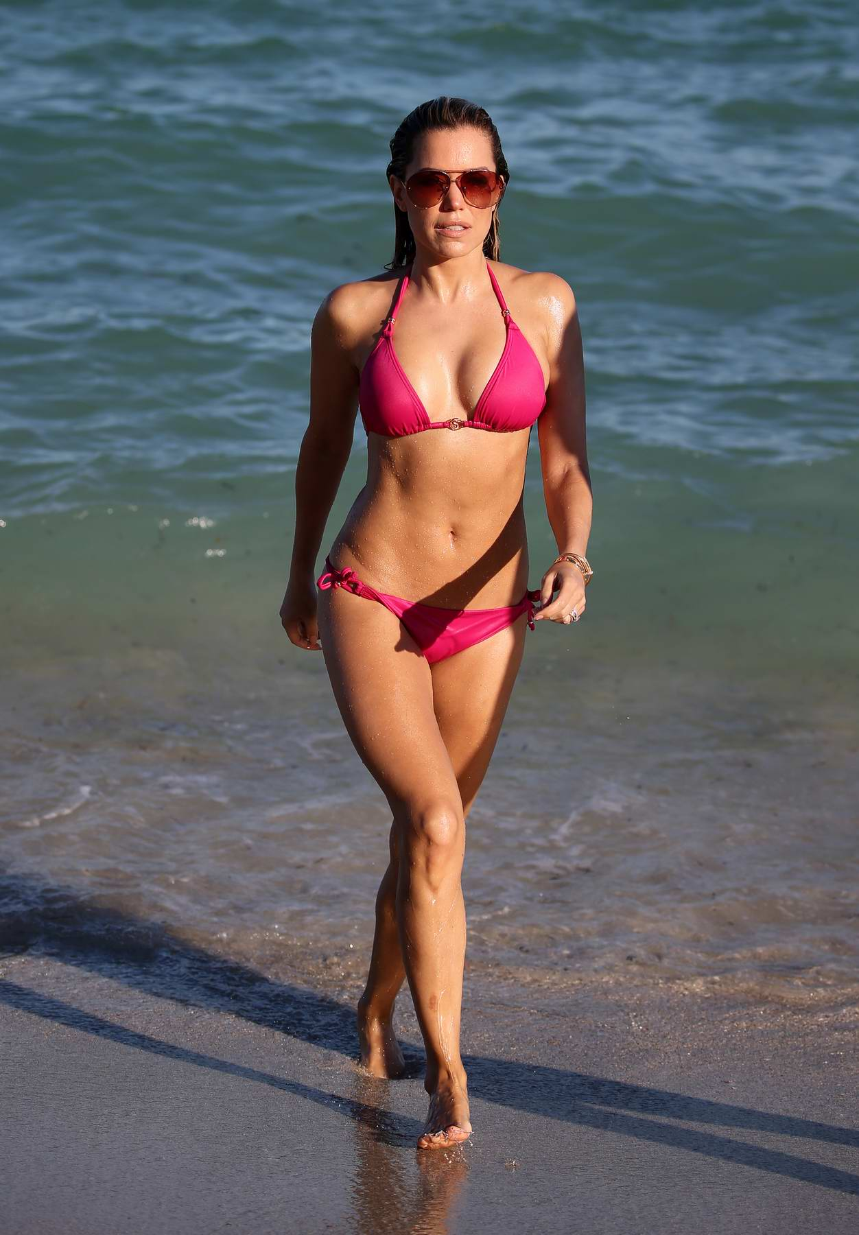 Sylvie Meis sports a pink bikini at the beach in Miami, Florida