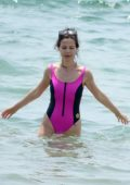 Tammin Sursok in a pink one swimsuit enjoys a day at the Balmoral beach in Sydney, Australia