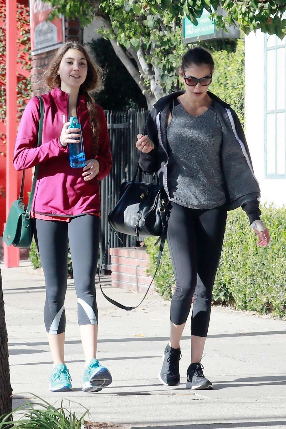 Teri Hatcher and daughter Emerson Tenney heads to the gym for a morning workout in Studio City, Los Angeles