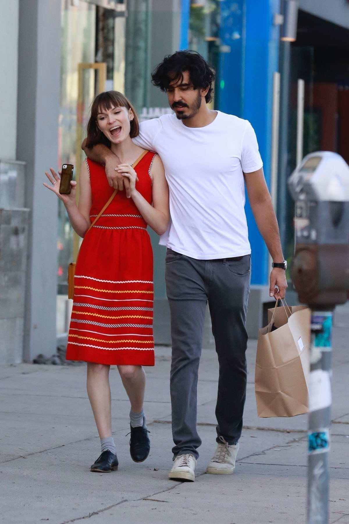 Tilda Cobham-Hervey and Dev Patel out for some holiday shopping in Los Angeles