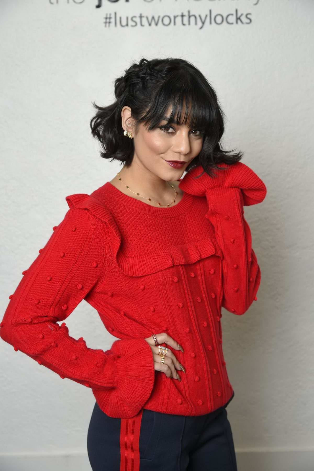 Vanessa Hudgens at holiday hair with JOICO in Los Angeles