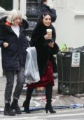 Vanessa Hudgens having coffee while walking to the set of 'Second Act' in New York