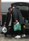 Vicky Pattison and fiance John Noble share a kiss while out shopping in Newcastle, UK