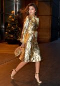 Zendaya wears a gold coat at the 'Today Show' in New York City