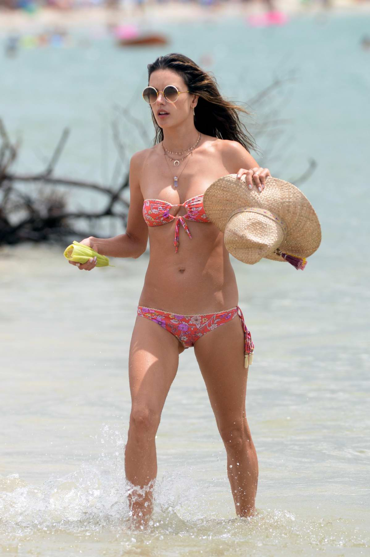 Alessandra Ambrosio rocks a pink floral print bikini as she continues to enjoy her holidays in Florianopolis, Brazil