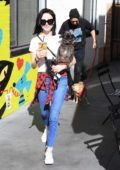 Alessandra Torresani and her boyfriend enjoys some coffee while out with their dogs at the Farmers Market in Studio City, Los Angeles