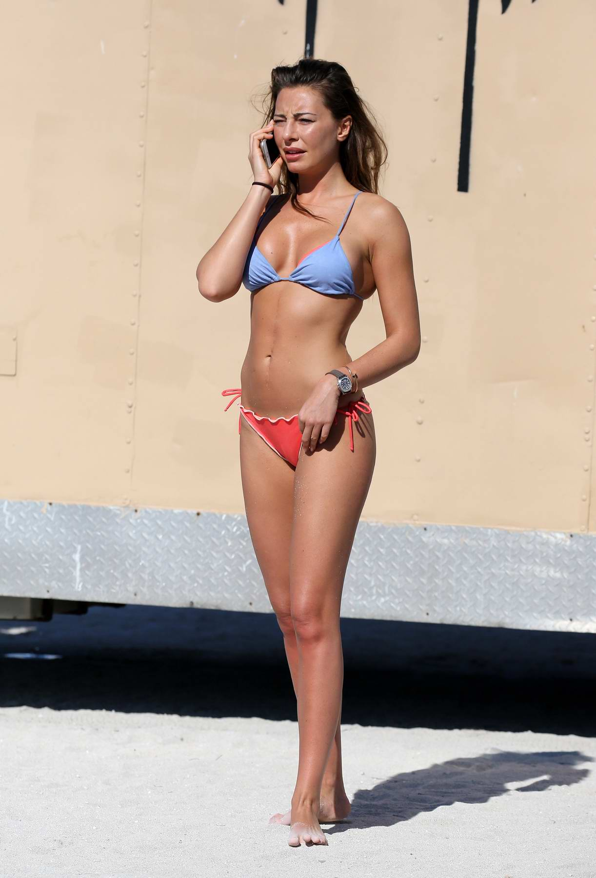 Alessia Tedeschi spends a day on the beach wearing a bikini in Miami, Florida