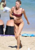 Amy Pejkovic rocks a bikini as she goes for a swim at Bronte beach in Sydney, Australia