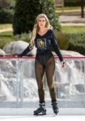 Ana Braga wearing a Vegas Golden Knights shirt while ice skating in Calabasas, California