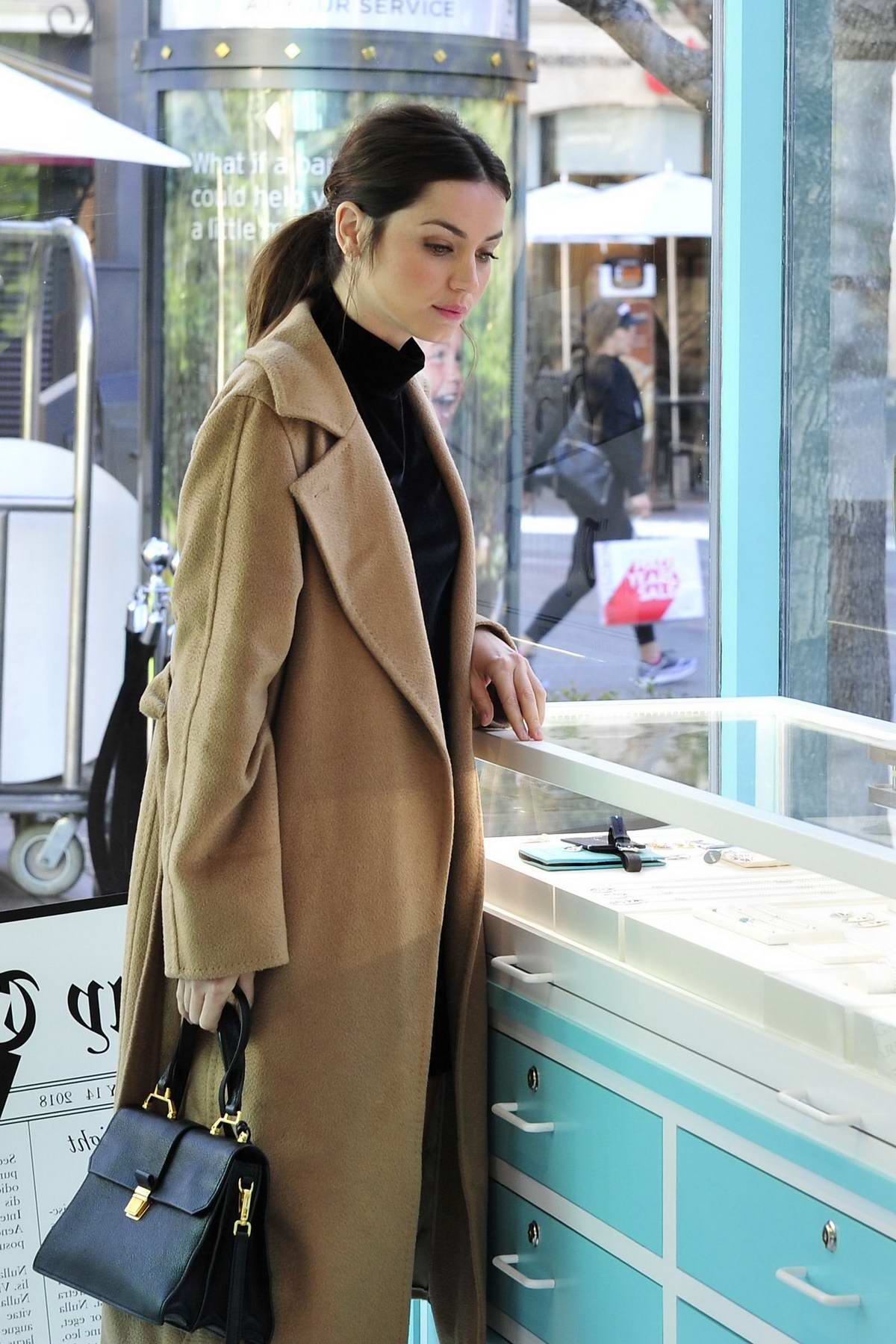 Ana de Armas shops at the Tiffany & Co. pop-up store at The Grove in Los Angeles
