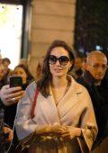 Angelina Jolie makes an appearance at Guerlain Perfumes shop on the Champs-Elysées in Paris, France