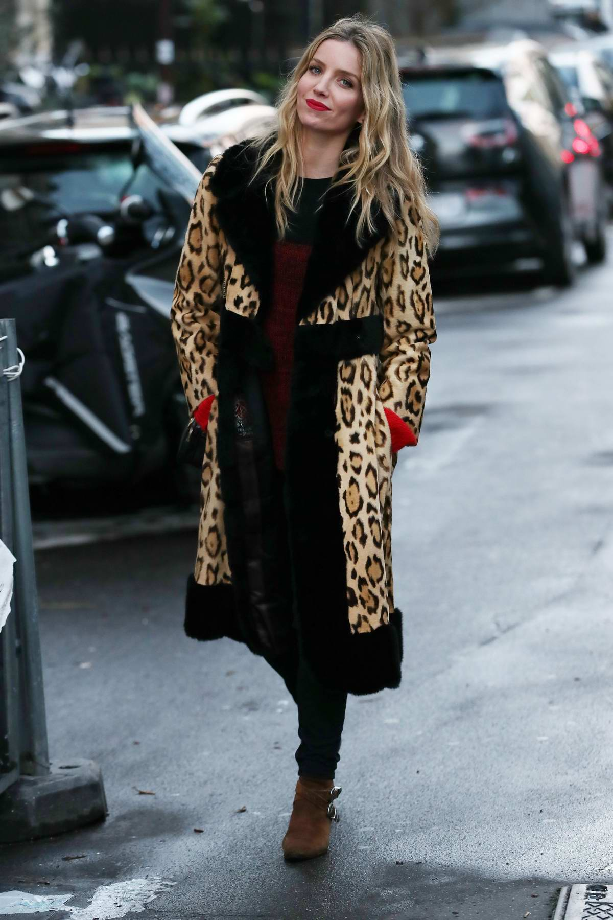 Annabelle Wallis spotted in a leopard print coat while out in Paris, France