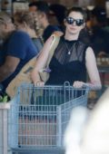 Anne Hathaway carts a trolley while doing grocery shopping in Los Angeles
