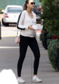 April Love Geary shows of her baby bump while out for breakfast at Kristy's in Malibu, California