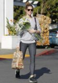 Ashley Greene shops for some groceries and flower at Bristol Farms in Beverly Hills, Los Angeles