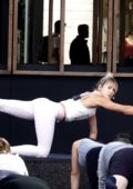 Ashley Hart teaching a yoga class as part of Australia Day in Los Angeles