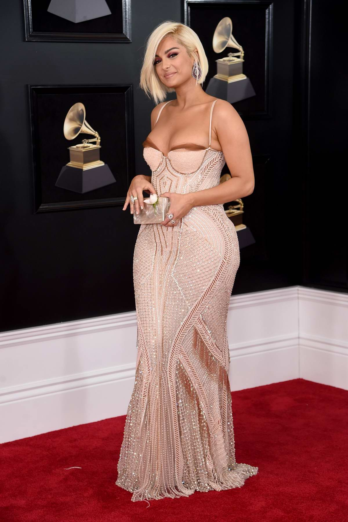 Bebe Rexha attends the 60th Annual Grammy Awards at Madison Square Garden in New York