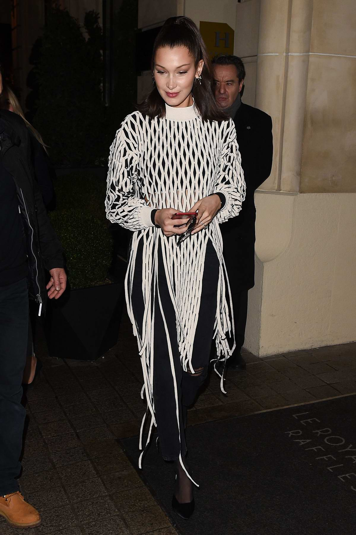 Bella Hadid is seen arriving at Hotel Costes in Paris, France