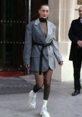 Bella Hadid spotted leaving fashion studios is Paris, France