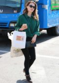 Bethany Joy Lenz grabs some Indian takeaway while shopping at the Farmers Market in Studio City, Los Angeles