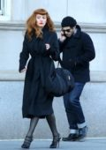 Blake Lively sports a red hair wig while filming scenes for her upcoming movie 'The Rythm Section' in Manhattan's Upper West Side, New York City