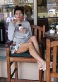 Blanca Blanco enjoys a FroYo wearing a floral mini shirt and hoodie in Malibu, California
