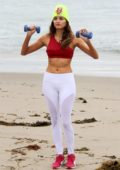 Blanca Blanco getting some beach workout in Malibu, California