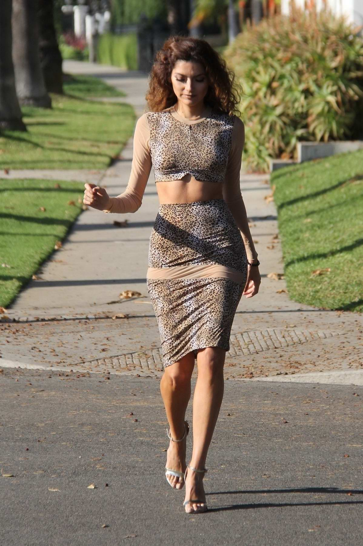 Blanca Blanco out and about in a leopard print dress in Los Angeles