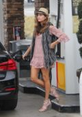 Blanca Blanco spotted at a gas station wearing a short pink dress in Malibu, California