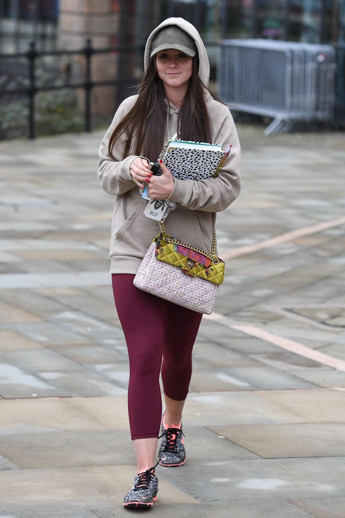 Brooke Vincent seen leaving Key 103 radio station wearing a hoodie in Manchester, UK
