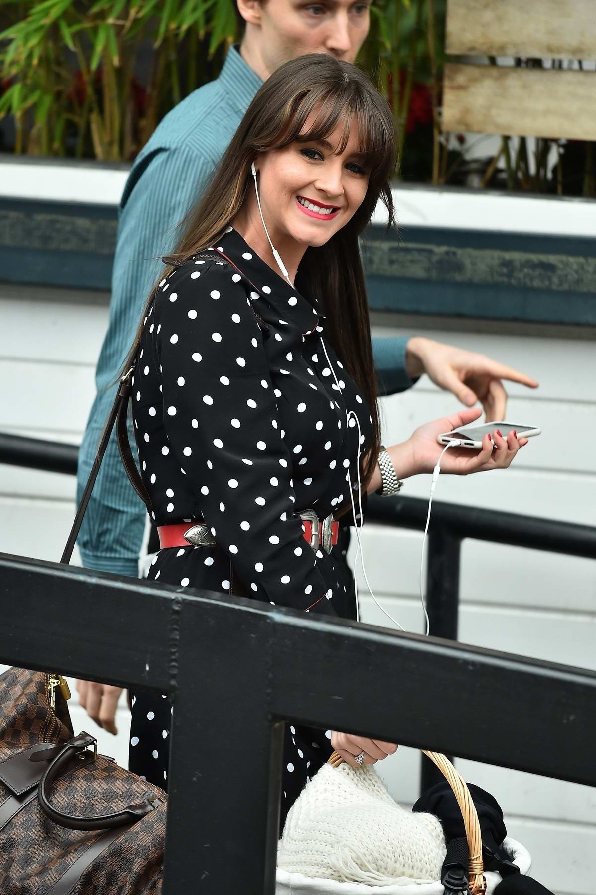 Brooke Vincent spotted at the ITV studios wearing a polka dot dress in London