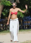 Candice Swanepoel shows off her belly bump on a stroll in the square in Trancoso, Brazil