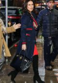 Catherine Zeta-Jones makes an appearance at the Good Morning America show in a blue and red ensemble in New York