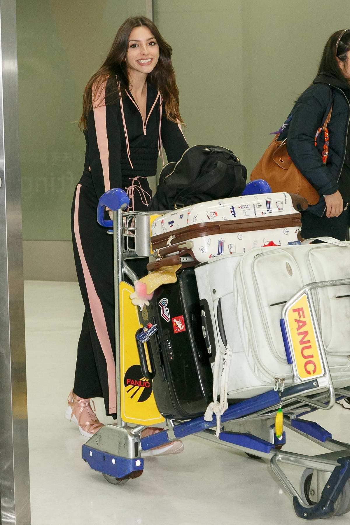 Celine Farach arrives at Narita International Airport in Tokyo, Japan