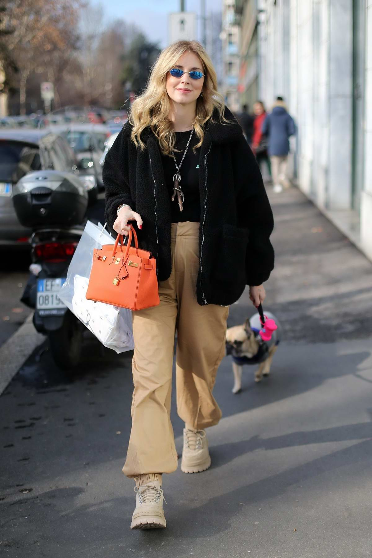 Chiara Ferragni make a visit to the hairdresser before heading out with friends in Milan, Italy