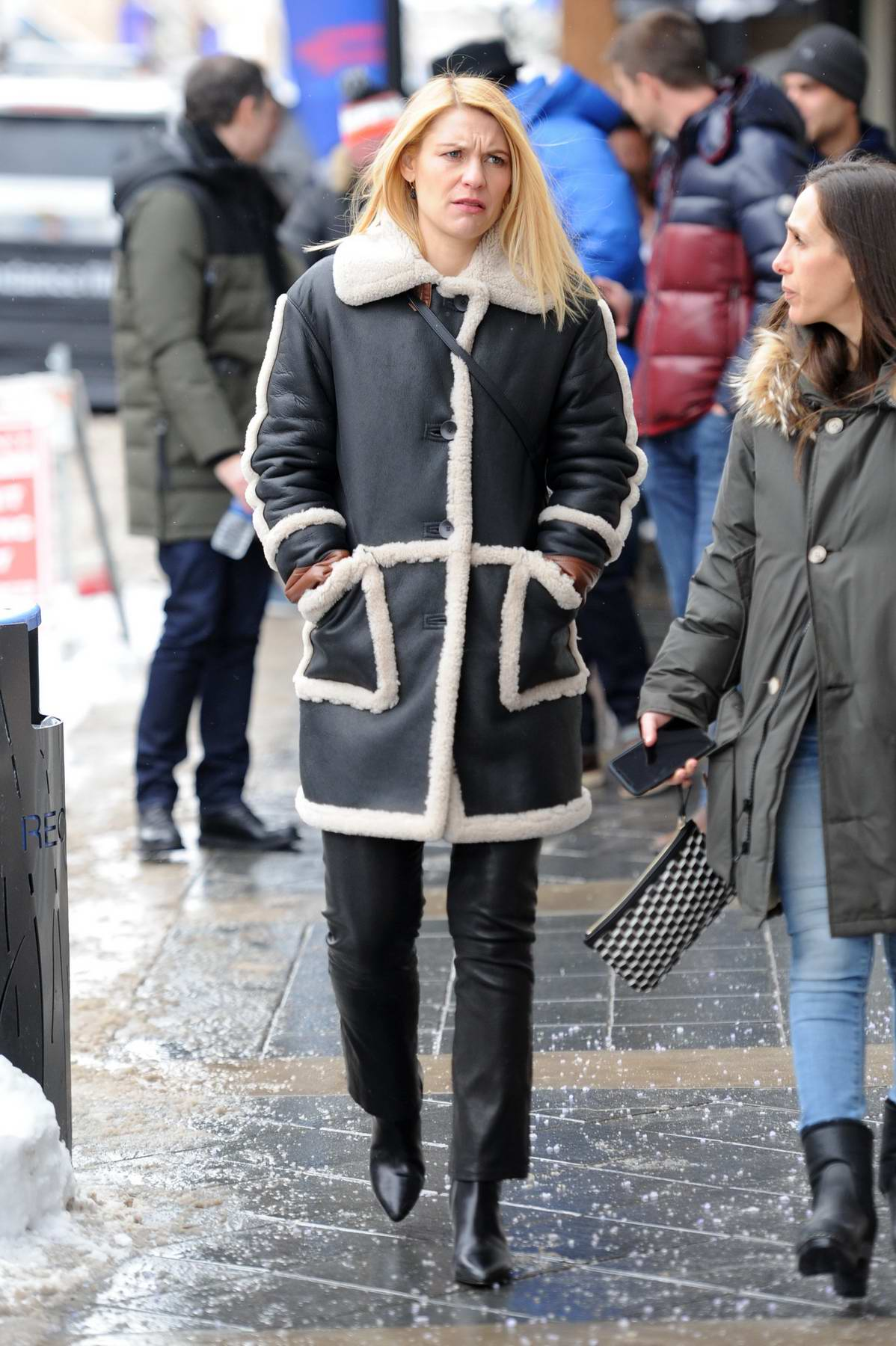 Claire Danes dressed in a fur lined jacket with leather pants while out and about at the Sundance Film Festival in Park City, Utah