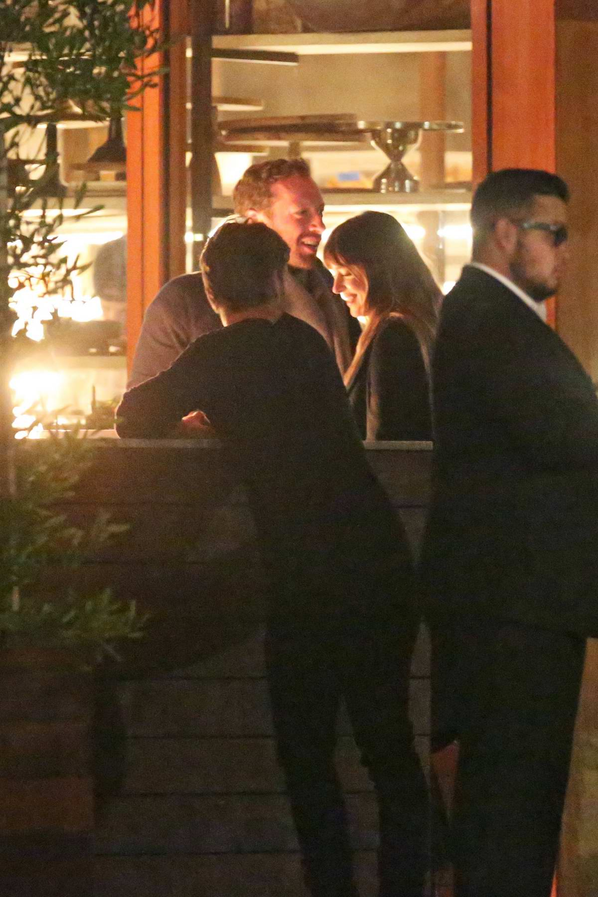 Dakota Johnson and Chris Martin spotted while on a dinner date at Soho House in Malibu, California