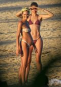 Doutzen Kroes and Candice Swanepoel spends a day enjoying the beach in Bahia, Brazil
