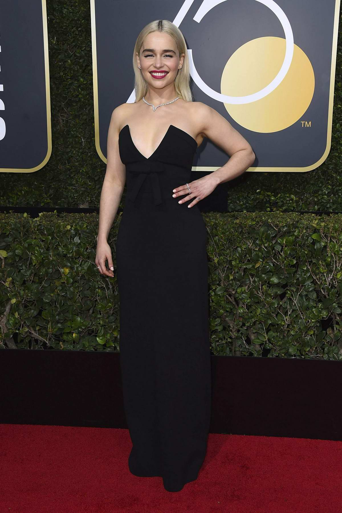 Emilia Clarke attends the 75th Annual Golden Globe Awards in Beverly Hills, Los Angeles
