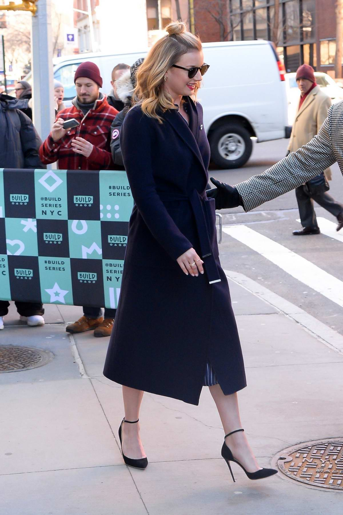 Emily VanCamp seen as she leaves AOL Build Studios in New York City