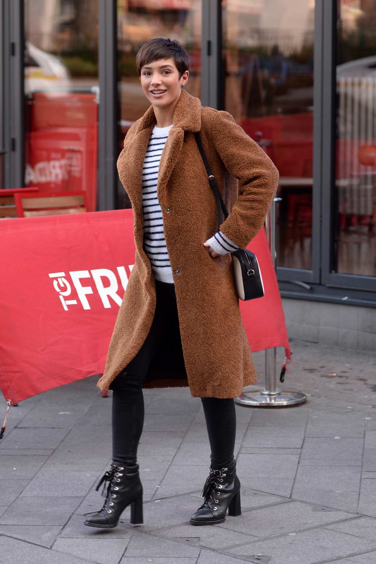 Frankie Bridge spotted running errands in Leicester Square, London