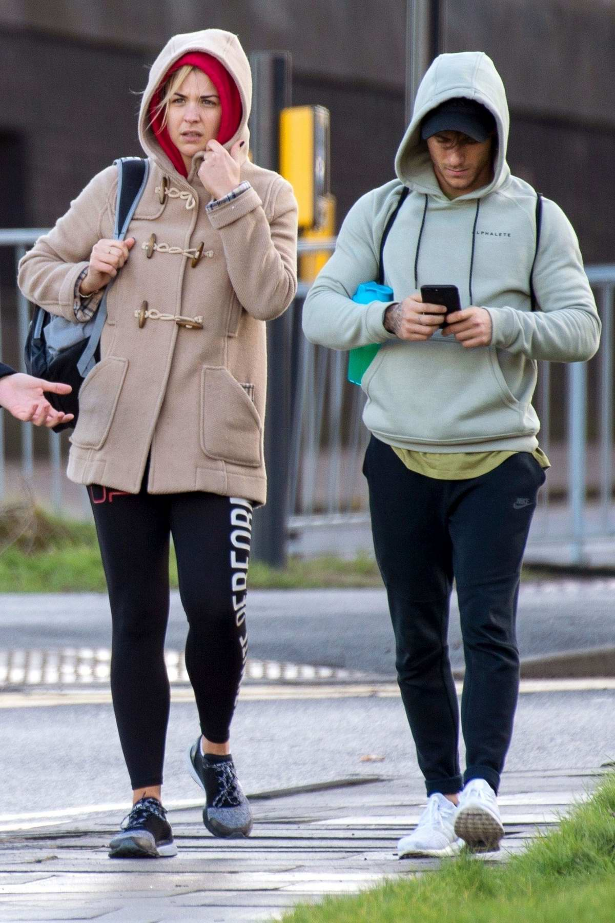 Gemma Atkinson and Gorka Marquez look tired as they leave another practice session in Newcastle, UK